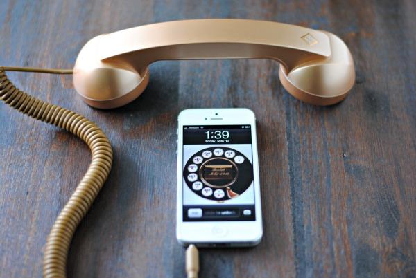 gold iphone handset