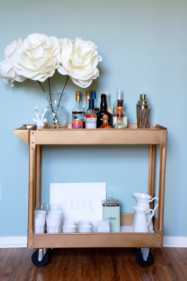 Turn a $38 red tool cart into a chic gold bar cart #DIY
