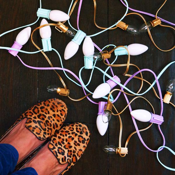 spray paint christmas lights, mint green, purple + leopard flats