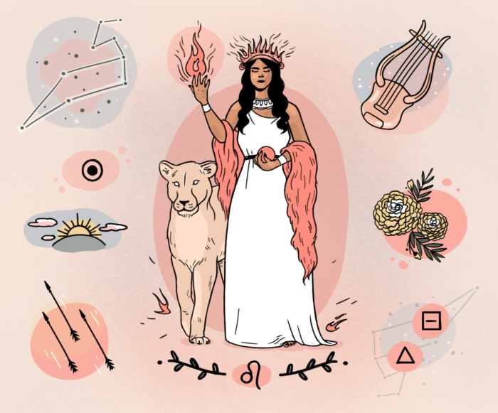 Illustration of Leo goddess in white gown on pink background surrounded by lion, Leo constellation, and flowers